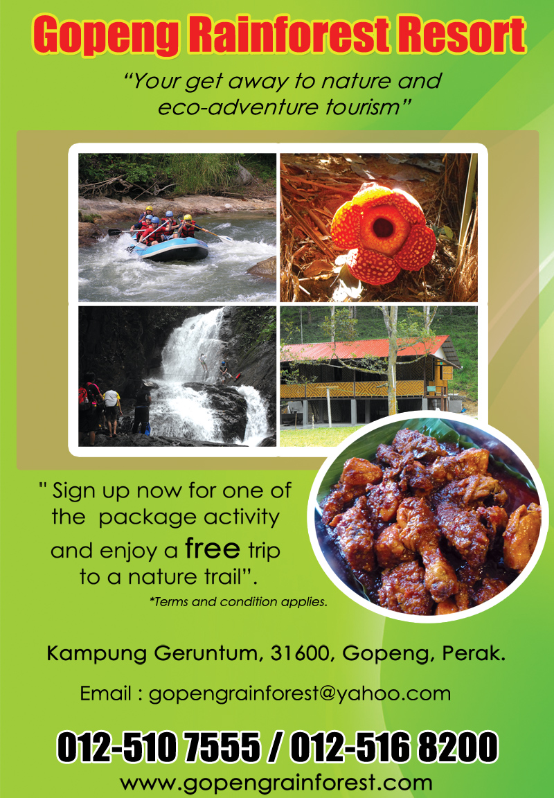 Gopeng Rainforest Resort - perak tourism - eco-adventure tourism