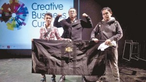 Team BESKAL competing at the Creative BusinessCup in Copenhagen; R-L: Nik Mohd Misuarie, Amir Baharuddin and Mohd Nazrinfwat